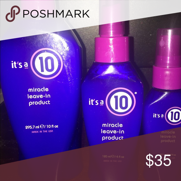 It's a ten leave in conditioner set of 3 NEW All bottles are brand new usually the large bottle is about 40$$ I am giving you a killer deal buy this set of 3 for 35$$ so basically you would be getting money off the large one plus two free bottles!!! This is a 90$$ value for 35$$ Other