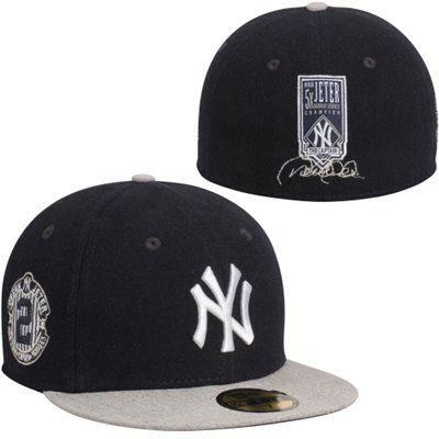 Derek Jeter New York Yankees New Era 59fifty Fitted Hat Navy Blue Gray New York Yankees Apparel New York Yankees New Era 59fifty