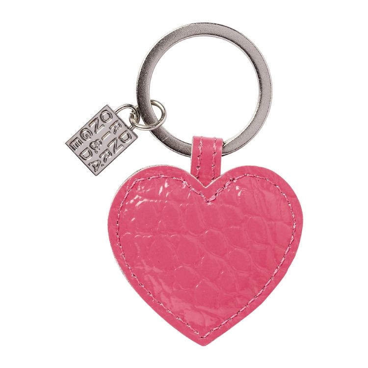HEART Key ring, leather croco, 5 x 8 cm, 3.3 x 2 in Pink