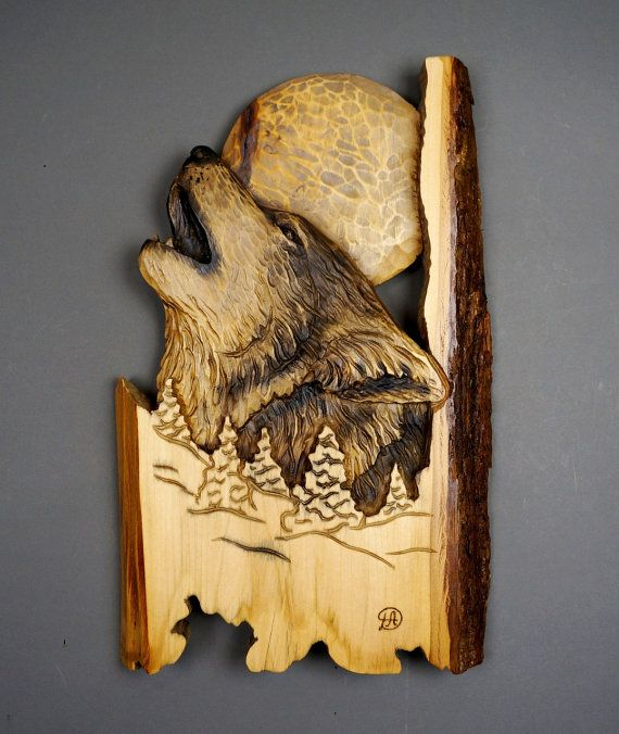 Wolf carved on wood carving with bark in relief by