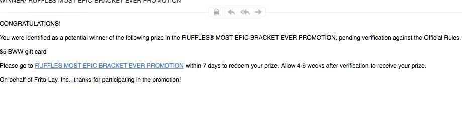 WINNER/ RUFFLES MOST EPIC BRACKET EVER Winner #freestuff #freebies #samples #free