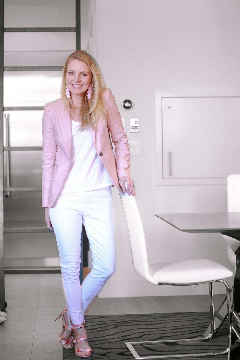 b5c8c9dfd51d Spring Blazers 2018 women's, how to style spring blazers with Erin Busbee  of BusbeeStyle featuring a Vince Camuto pink corset back blazer and white  Topshop ...