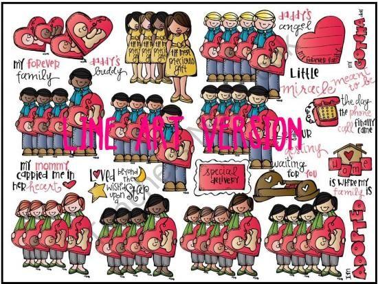 Erika's SUPER deluxe LINE ART adoption bundle product from Melonheadz-Illustrations on TeachersNotebook.com