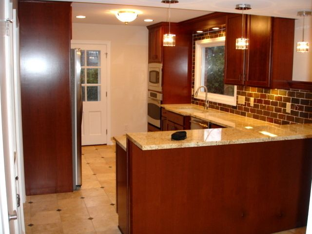 Kitchen Remodel Pictures Cherry Cabinets shaker heights oh kitchen remodel: cherry cabinets, travertine