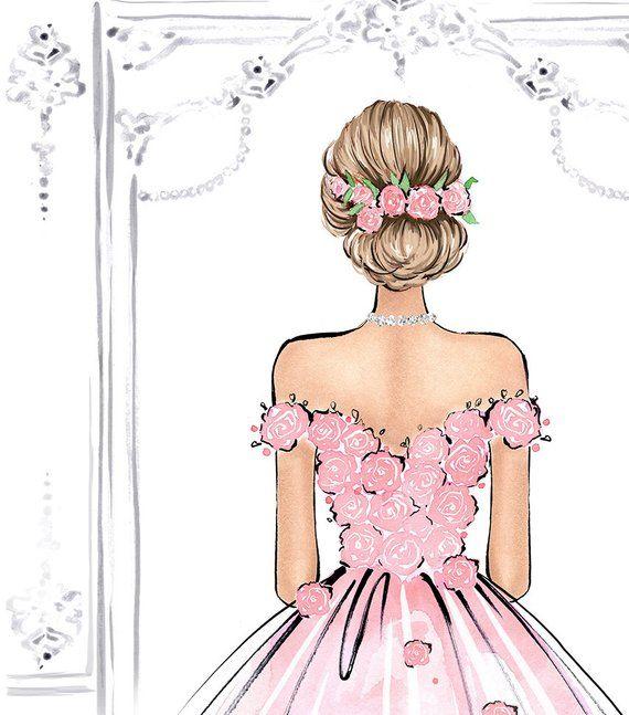 Photo of Romantic Wall Art Watercolor Fashion Illustration Pink Rose Art Princess Bedroom Art Fashion Wall Ar