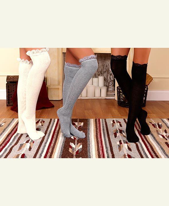 850264d9e Over The Knee Socks Boot Set Tall Lace Trim 3 Pair Cream Black Gray  Lightweight