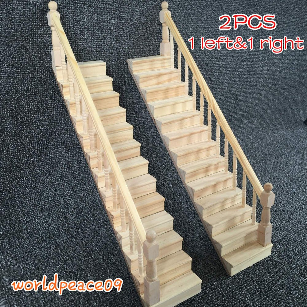 Best 2Pcs Dollhouse Miniature Wooden Stairs Stairway Unilateral 640 x 480