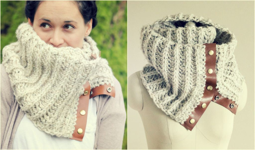 CROCHET LEATHER SNAP SCARF | cuellos | Pinterest | Guantes, Bufanda ...