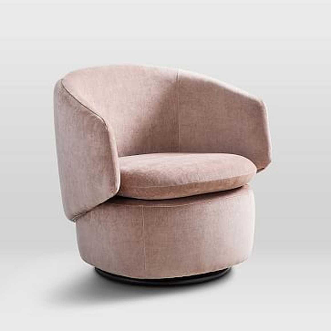 Crescent swivel chair performance velvet light pink