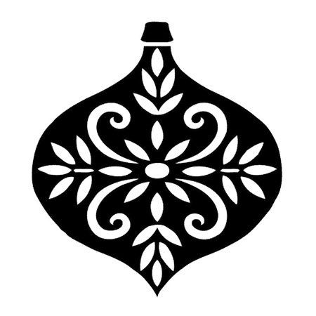 Amazon Com Black And White Decorated Christmas Ornament Silhouette