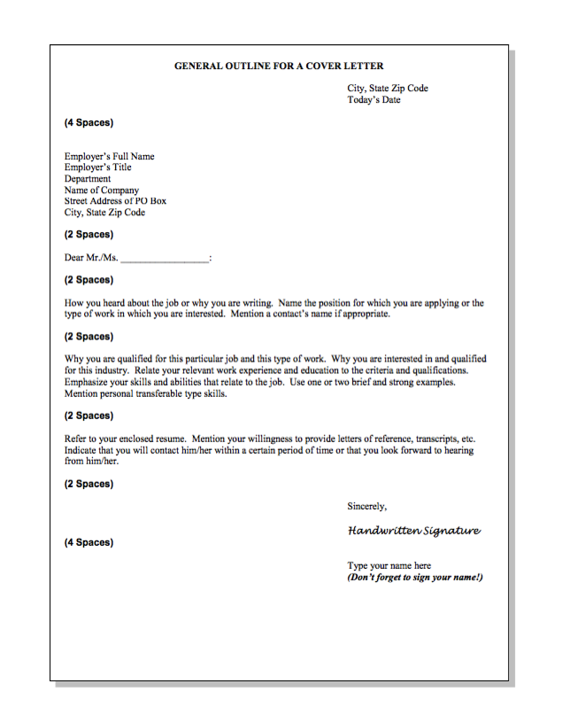 General Outline For A Cover Letter Sample  HttpResumesdesign