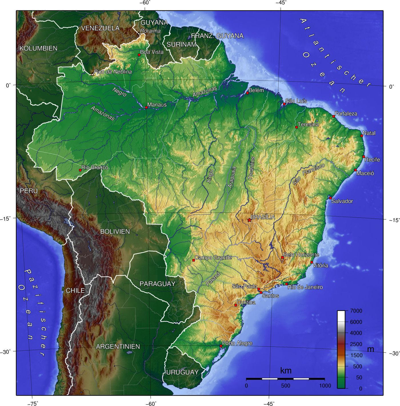 Topographic map of Brazil | Brazil tourism, Mexico places to ...