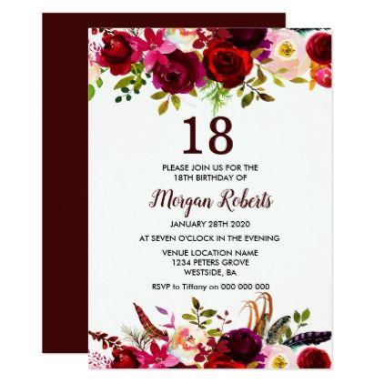 Burgundy Floral Elegant 18th Birthday Party Invite
