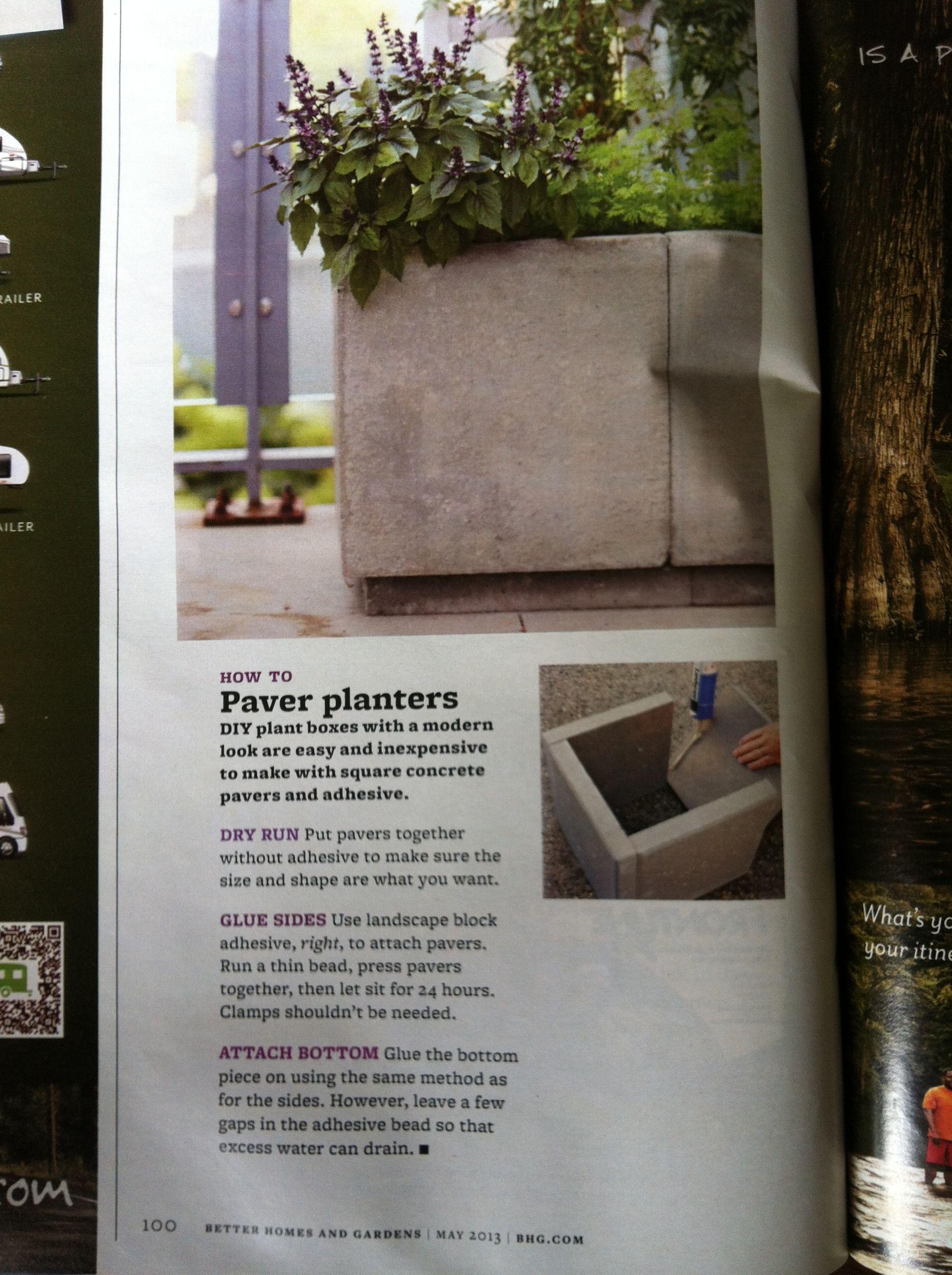 Making Plant Boxes With Square Concrete Pavers Landscape Block Adhesive Plant Box Diy Planters Diy Plants