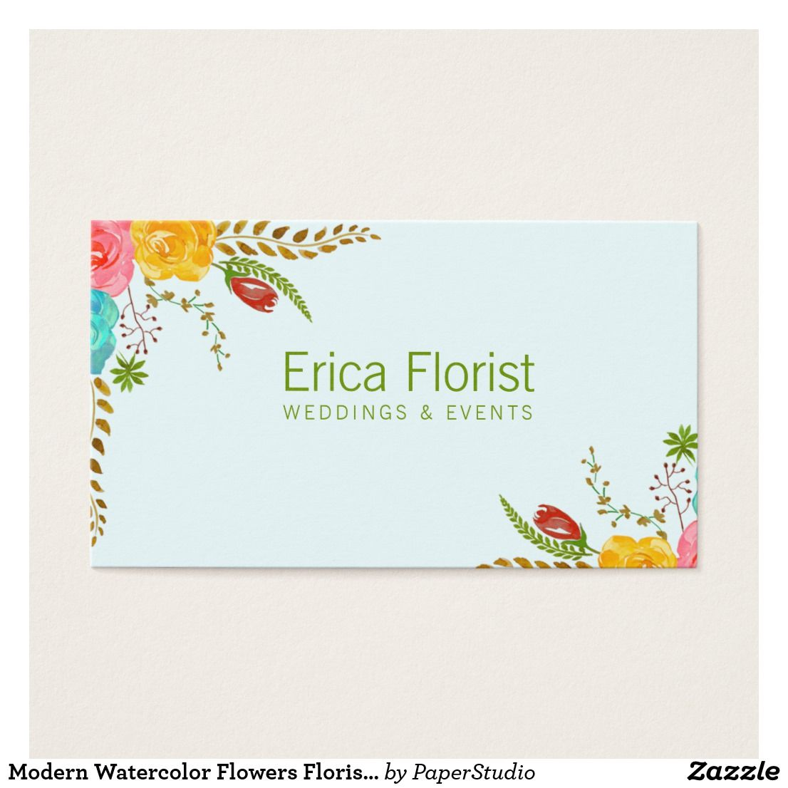 Modern watercolor flowers florist business card zazzle pinterest