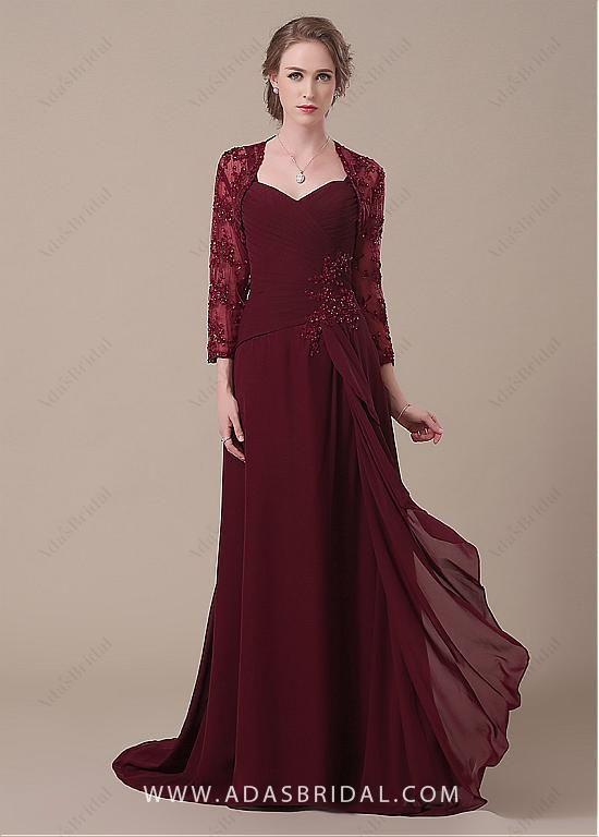 ce6a9fa1e8 comprar Elegante gasa escote corazón completo de longitud una línea de Madre  de los vestidos de novia de descuento en Dressilyme.com