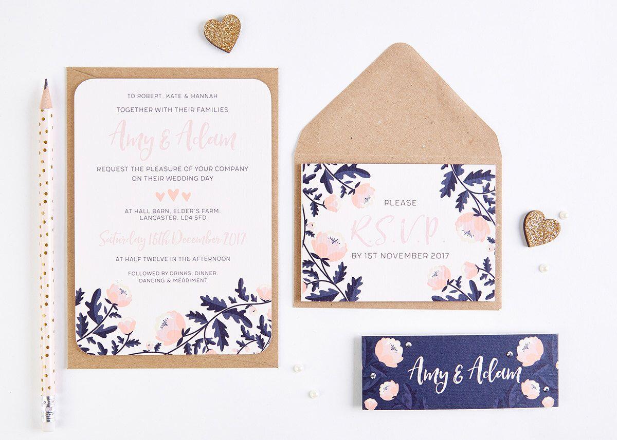 Blush and Navy Floral Wedding Invitation Bundle | Amy Roach ...