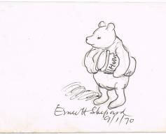 1970 Signed Sketch of Winnie the Pooh by E.H. Shepard
