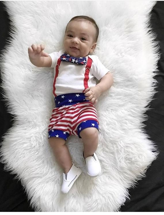 Photo of Baby Boy 4th of July Outfit, Patriotic Shorties, Stars Stripes, Knit  Boy Shorts…