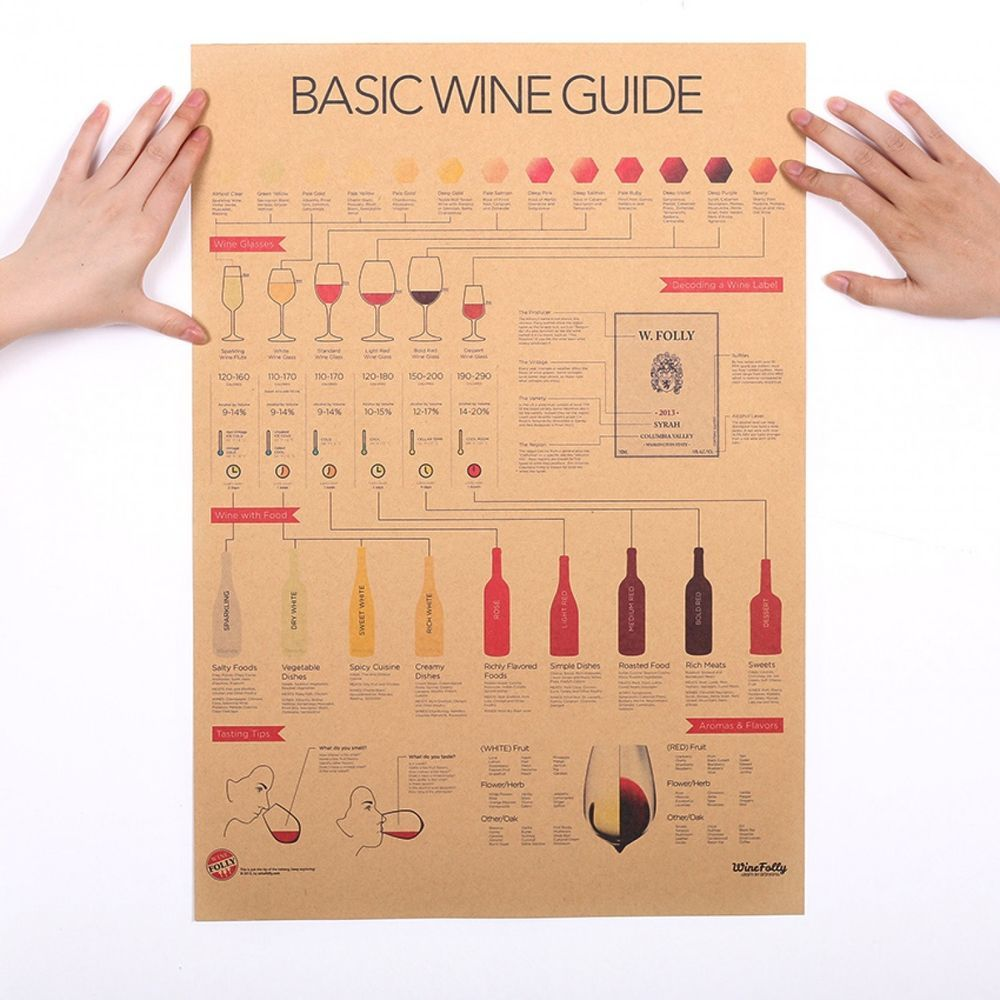 Wine Collection Poster Basic Guide Kitchen Decoration Retro Style - A basic guide to vinyl decals
