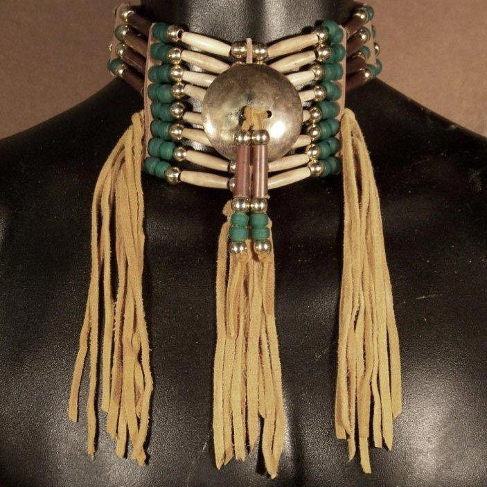 Native American 4 Strand Amber Horn  Antiqued Bone Choker with brass center disc. $115