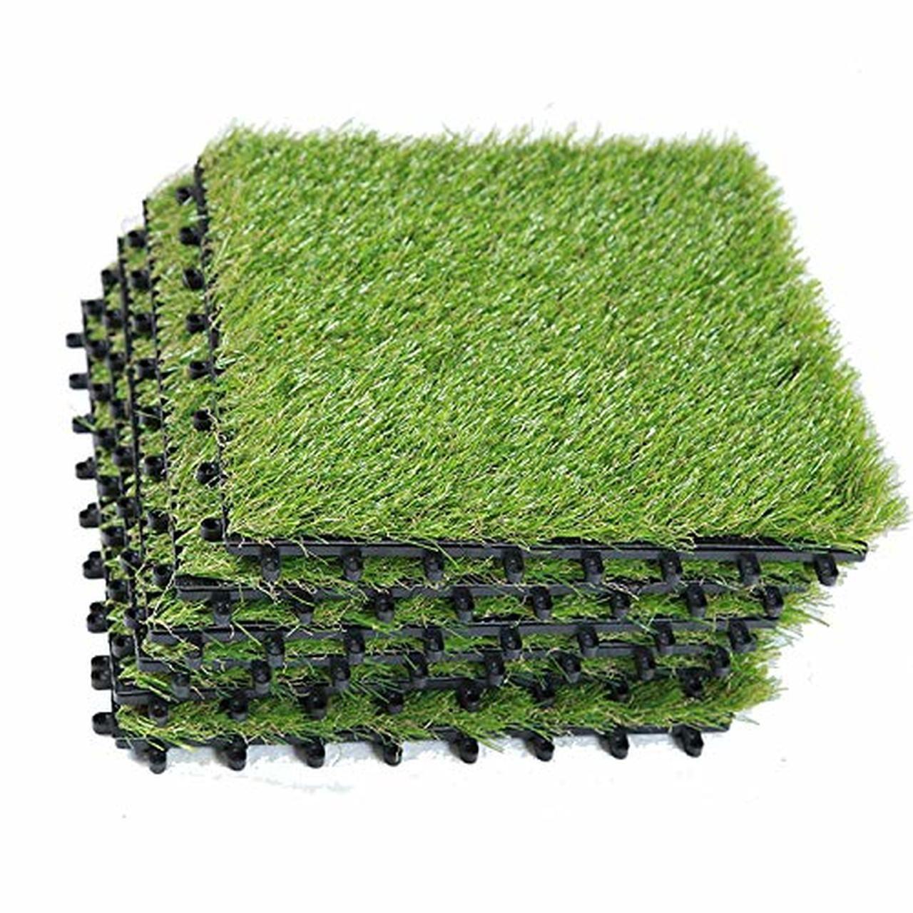 Ecomatrix Artificial Grass Tiles Interlocking Fake Grass Deck Tile Synthetic Grass Turf Green Lawn Carpet Indoor Floor Mat For Patio Balcony Garden Flooring Dec Fake Grass Fake Grass Balcony Artificial Grass