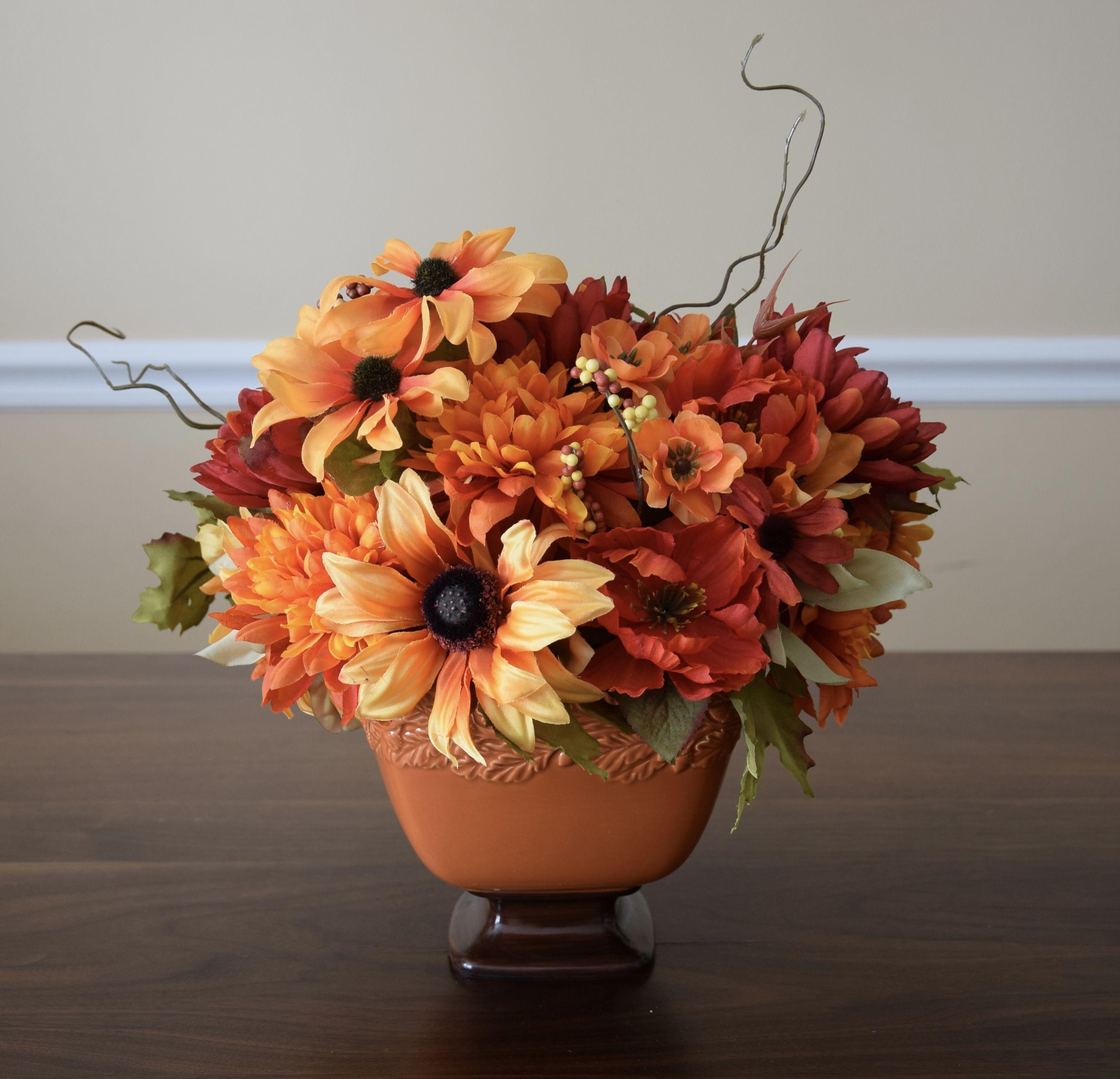 Flower Arrangement Made With Silk Flowers Autumn Colors High