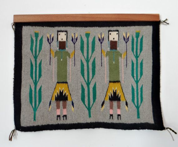 Vintage Navajo Rug Or Woven Wall Hanging Yei Or By