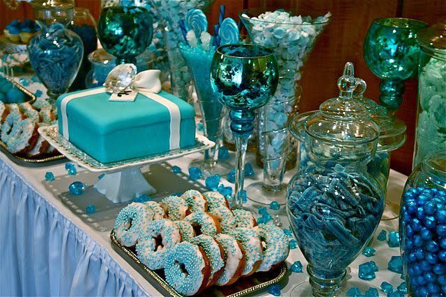Great For A Winter Wonderland Wedding Candy Buffet Candy Buffet Wedding Blue Candy Buffet Blue Candy Bars