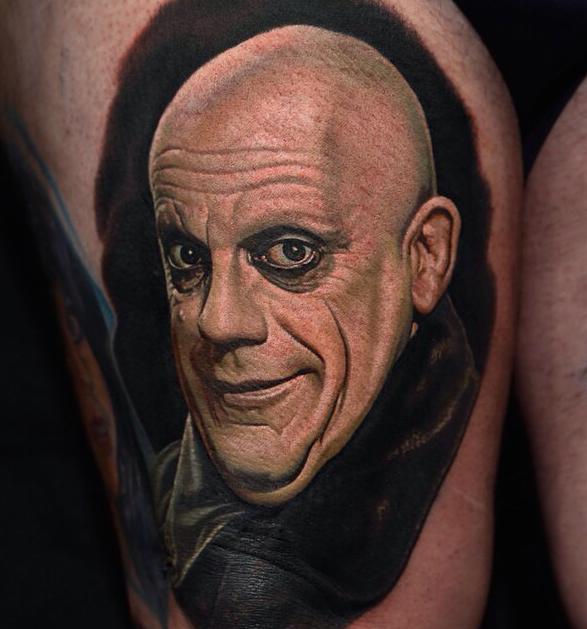 Uncle Fester Portrait Tattoo Nikko Hurtado Addams Family Tattoo