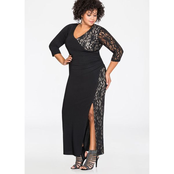 Ashley Stewart Metallic Lace Sexy Slit Gown Black 44 Liked On