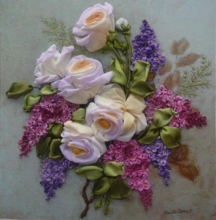 *RIBBON ART ~ Gallery.ru / Roses with Lilacs - embroidery ribbons, Part 2 - silkfantasy