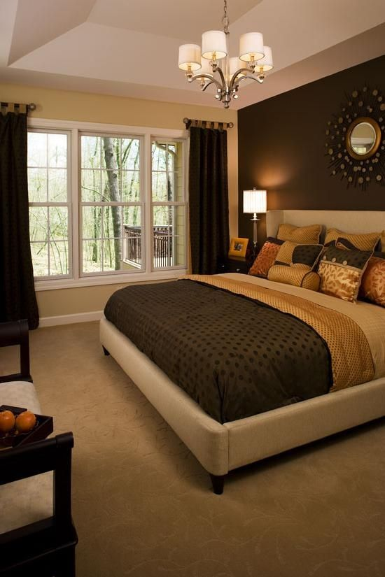 Master bedroom paint one side wall i like the dark color for Brown and cream bedroom ideas