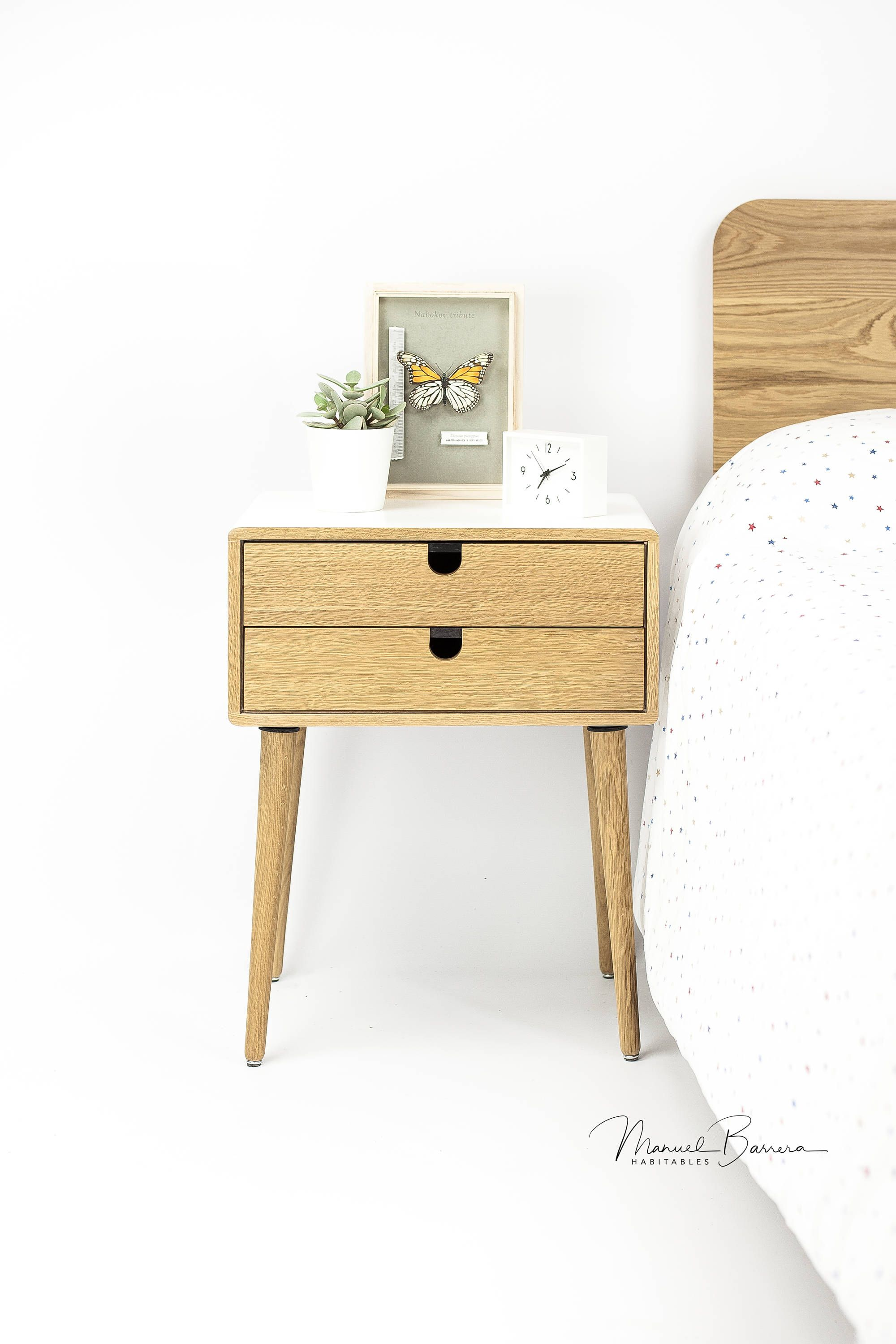 White Lacquered Oak bedside table Nightstand | bedside nightstand ...