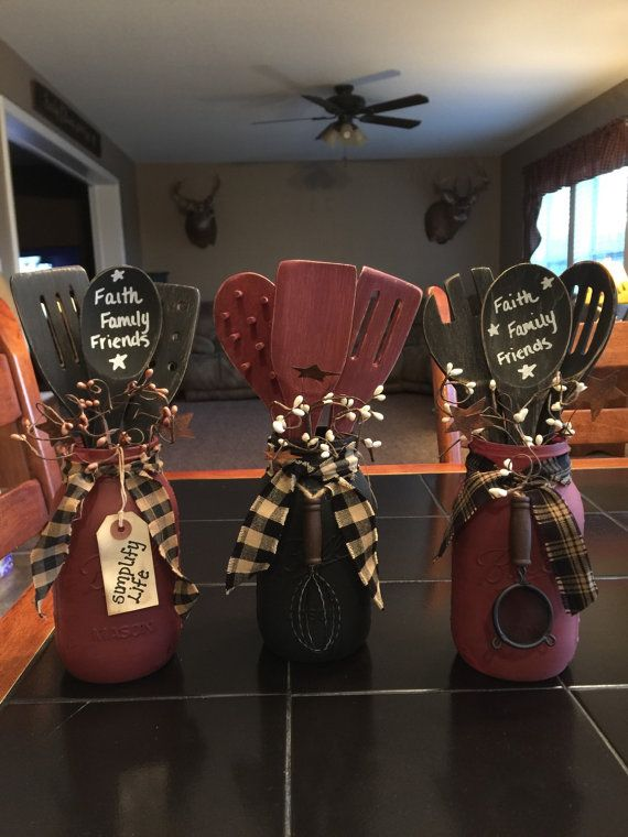 Mason jar with pip berry and wooden spoons. Can customized to any color. And also customize tag #masonjardiy