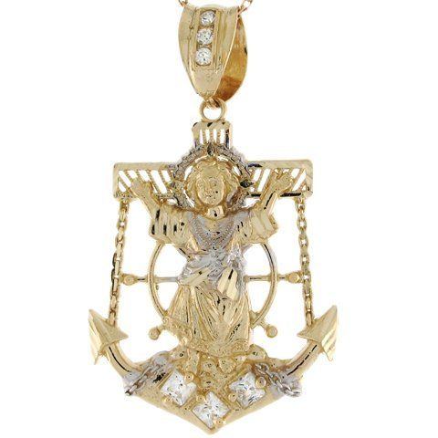 10k Two Toned Real Gold White CZ 4.3cm Divino Nino Religious Anchor Pendant Jewelry Liquidation. $227.81. Made with Real 10k Gold!. Made in USA!. Save 56% Off!