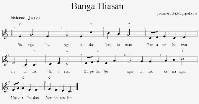 Partitur Chord Gitar Lagu Anak Indonesia Bunga Hiasan Partitur