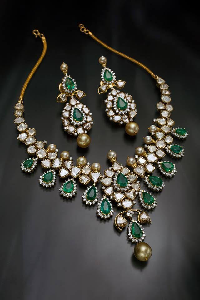 f6d863f7108b07 diamond emerald necklace – boutiquedesignerjewellery.com   Necklace ...