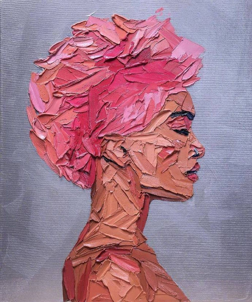 Pink Woman Portrait Artwork Oil Knife Canvas Painting for Entrance Family Room Wall Decor Abstract Hand Painted Wall Art Custom #decorationentrance