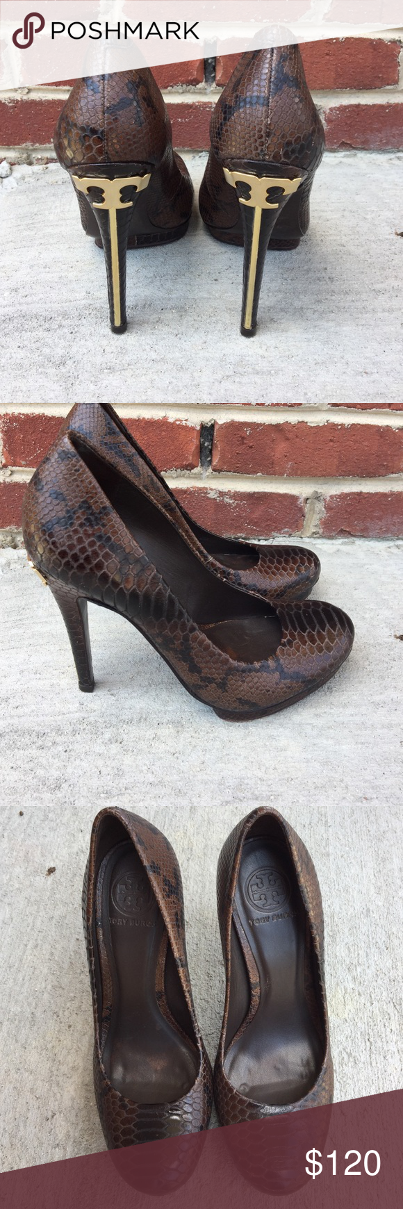 41070c87d0579 Perfect Tory Burch Jude-Amazon Snake Print Heel. These shoes are amazing  with so much life left. High heel and small platform.