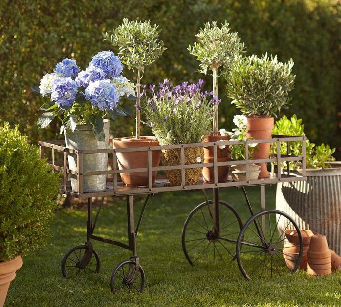 Garten Gestalten Gartenideen Vintage Deko Pflanzen Blumentöpfe