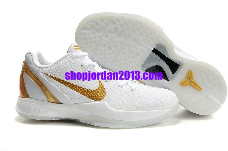 100% authentic 12daf 70ae3 Nike Kobe 6 Shoes White Gold Kobe Bryant Shoes