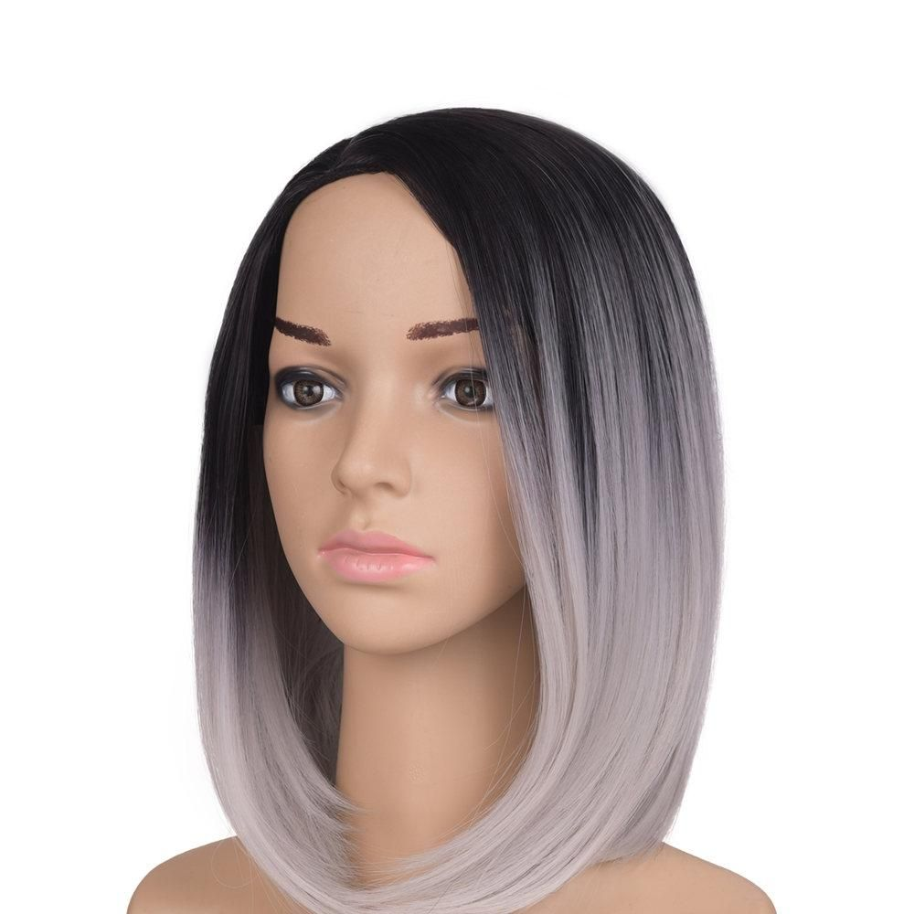 Feilimei Black Short Straight Wig g African American Females hair