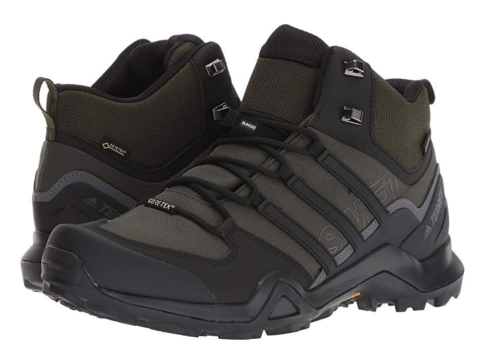 check out f0c49 cbfa9 adidas Outdoor Terrex Swift R2 Mid GTX(r) (Night Carbon Black Base Green)  Men s Climbing Shoes. Tackle the tricky terrain with ease in the Terrex  Swift R2 ...