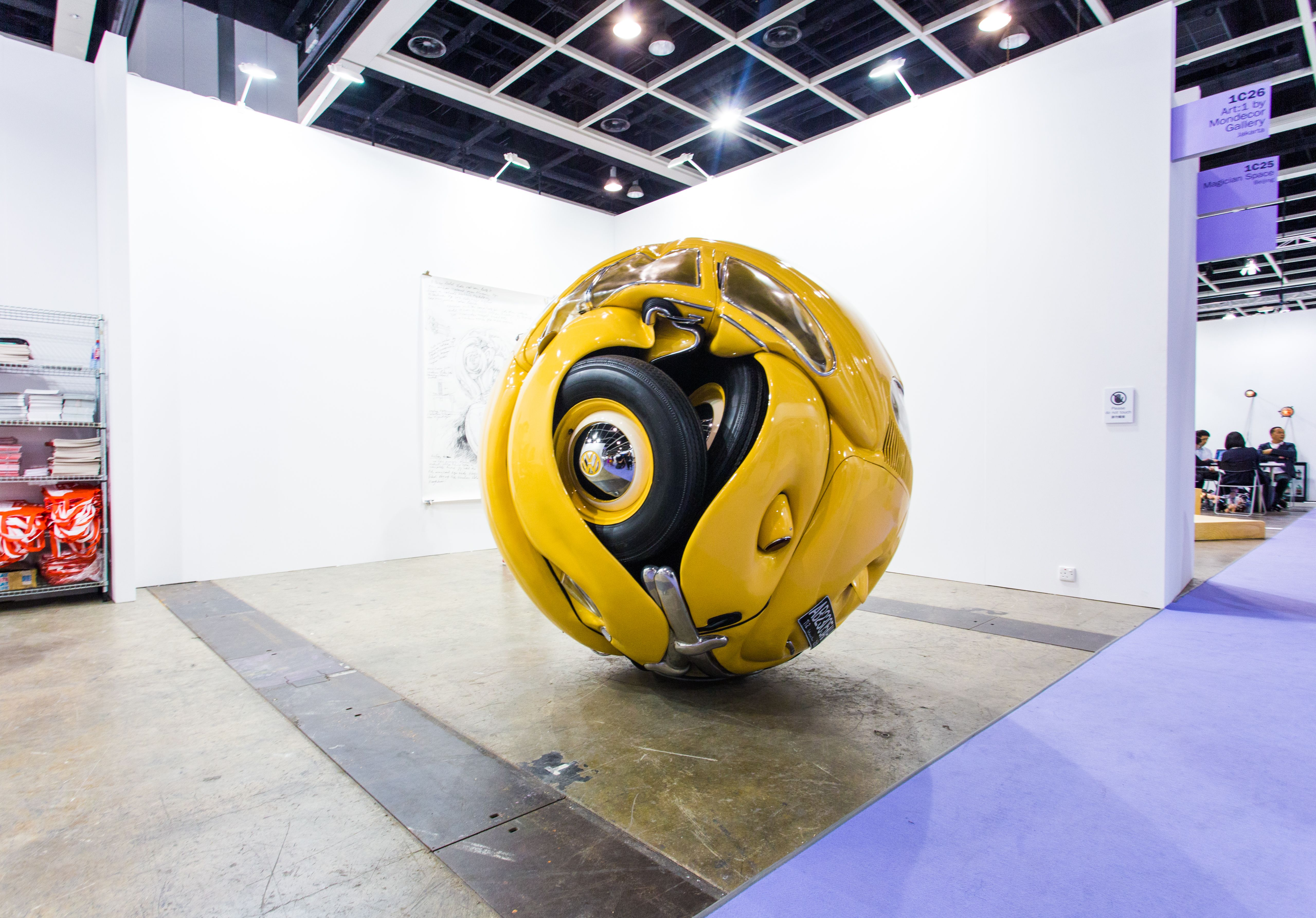 """Ichwan Noor (b. 1963): Beetle Sphere, 2013 (Aluminium, polyester, real parts from VW beetle '53, paint)"" / Art:1 by Mondecor Gallery / Art Basel Hong Kong 2013 / SML.20130523.6D.14135"
