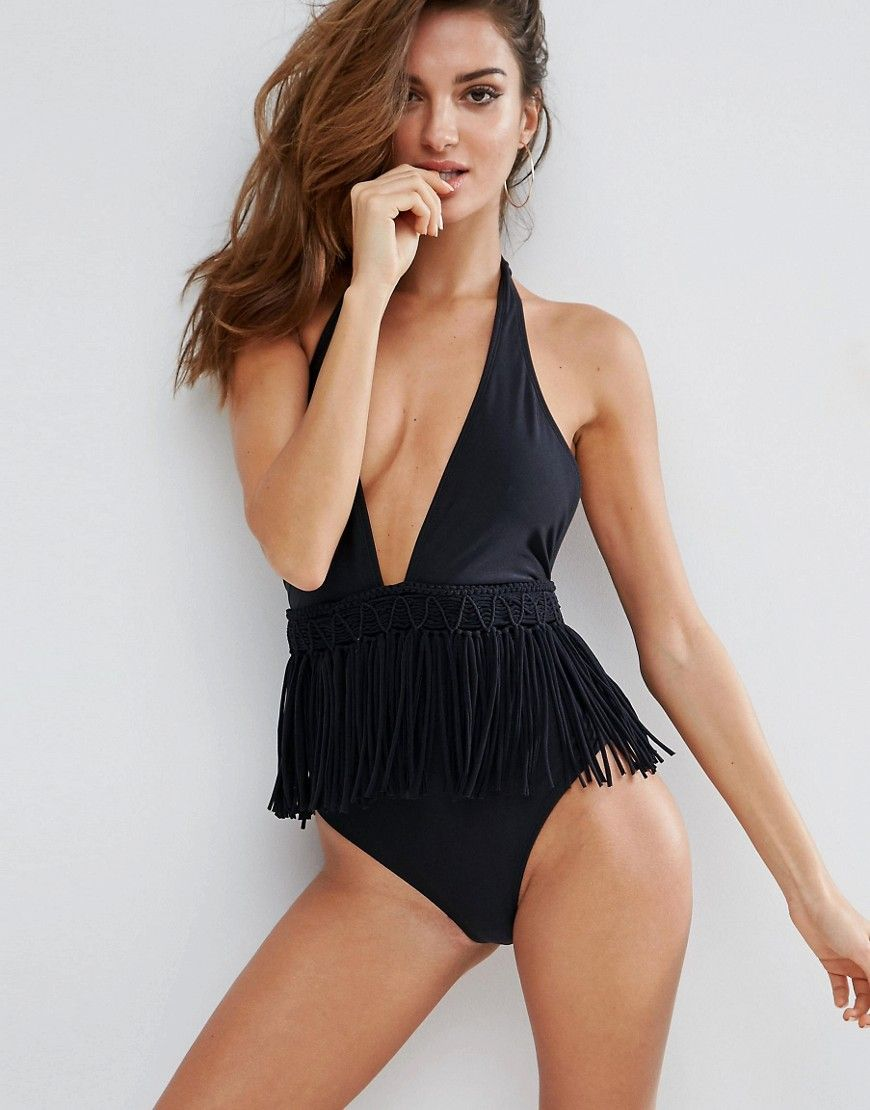 06b85d3f Buy it now. ASOS Macrame Fringed Swimsuit - Black. Swimsuit by ASOS  Collection, Plain swim fabric, Halter neck, Plunge front, Fringe trim,  Non-padded cups, ...