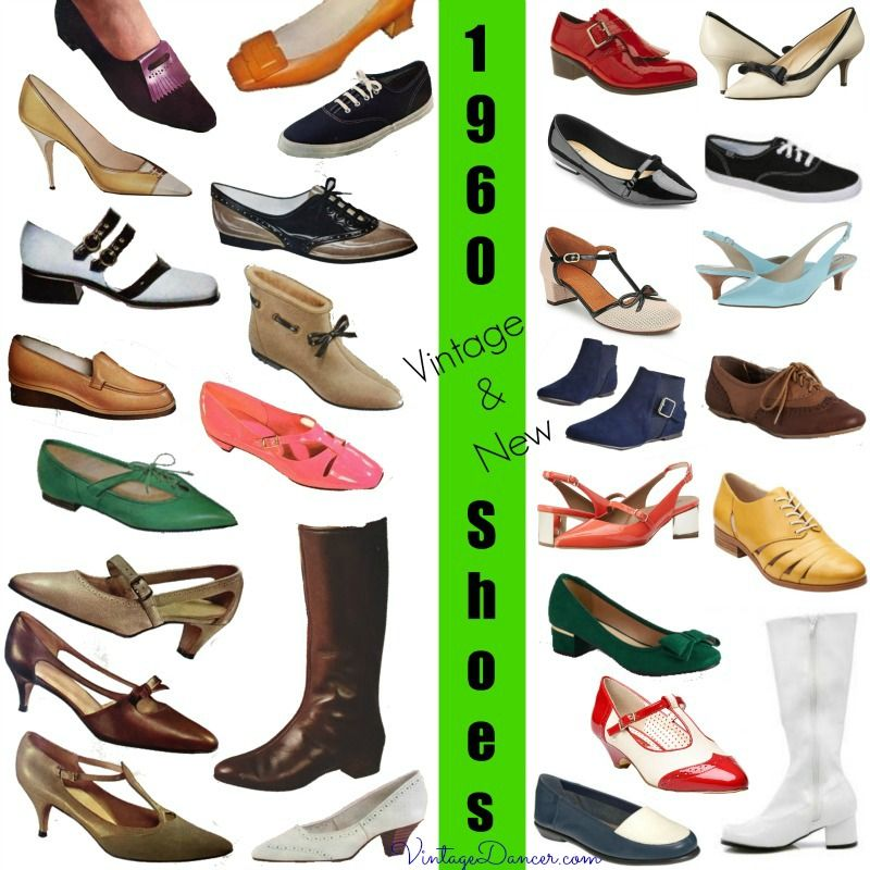 1960s shoes. Vintage and new 1960s shoe styles. So many fun designs, bright colors, and on trend this year too. Learn and shop at vintagedancer com