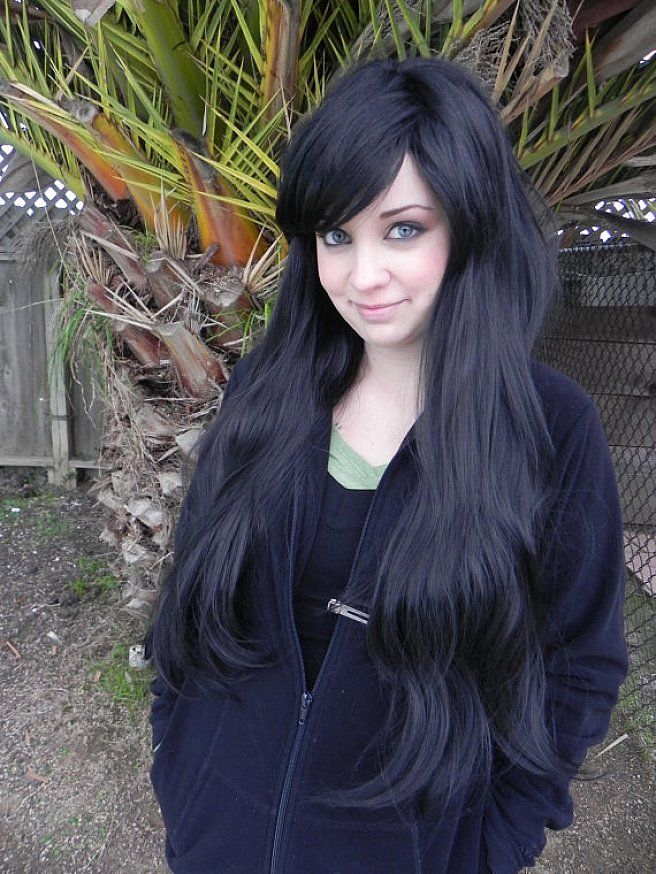 Black long hairstyles with side bangs for thick hair and ...