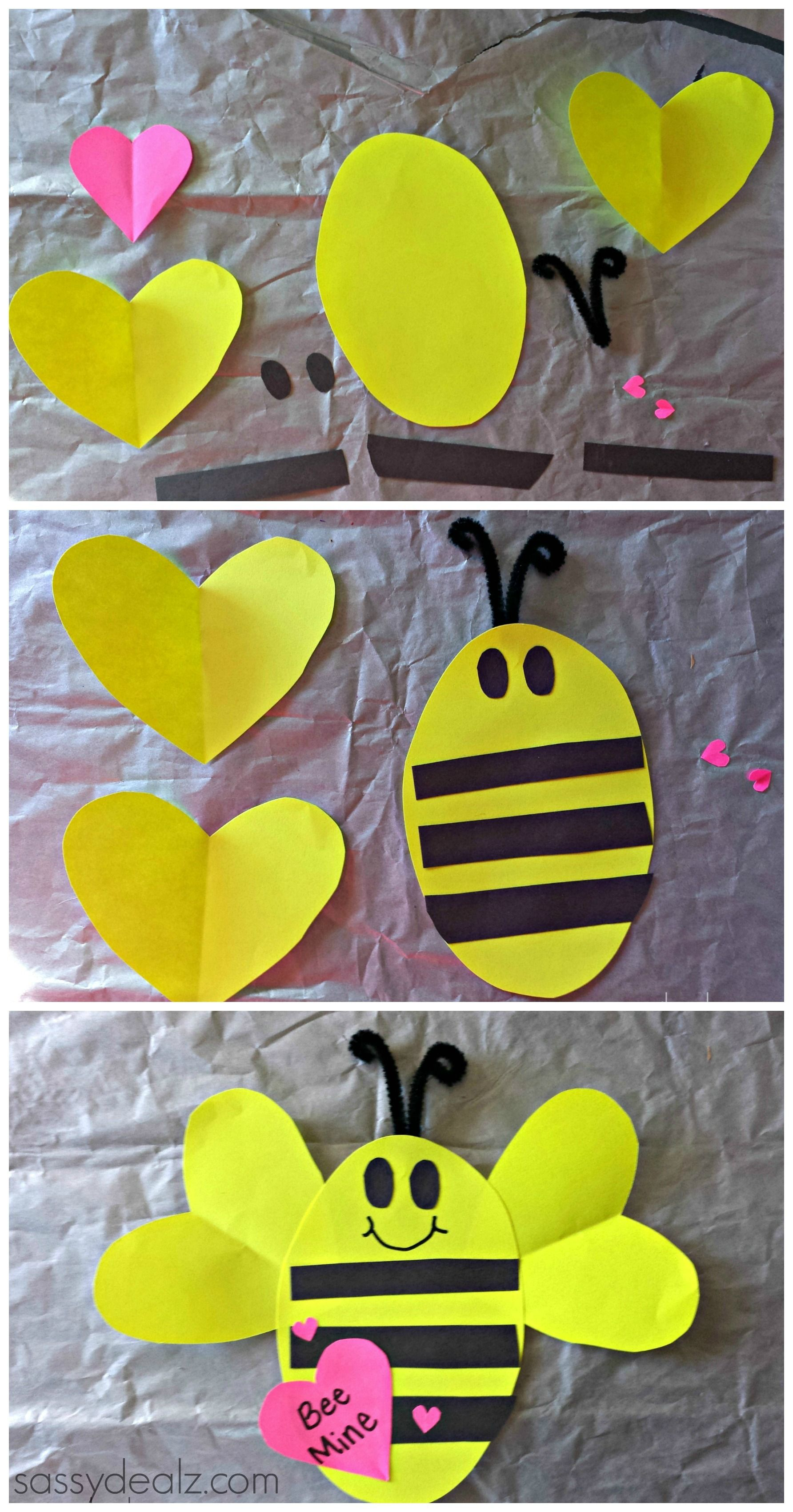 Bee Mine Valentines Day Craft For Kids Valentines Card Bee Art Project