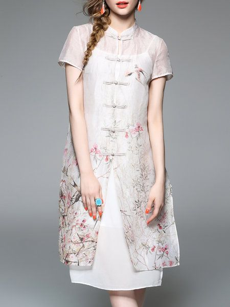 Shop Midi Dresses - Apricot H-line Short Sleeve Shirt Dress online. Discover unique designers fashion at StyleWe.com.